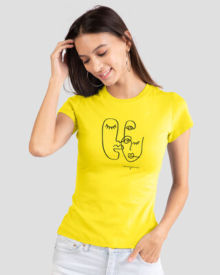 Shop Anonymous Faces Women's Half Sleeve Printed T-Shirt-Front