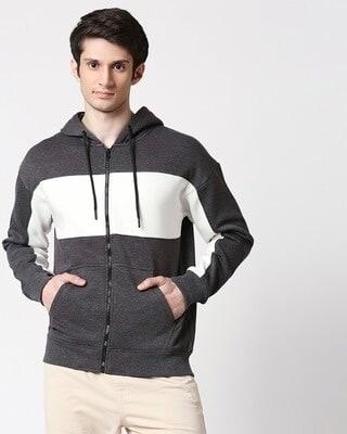 Shop Anthra Melange Chest Panel Zipper Hoodie-Front
