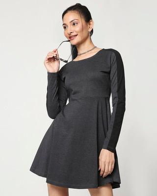 Shop Anthra Melange Flared Dress-Front