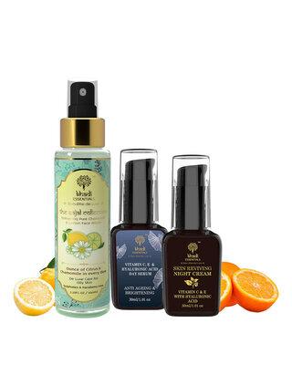 Shop Khadi Essentials Combo of Vitamin C Night Cream, Vitamin C Face Serum and Vitamin C Face Toner-Front