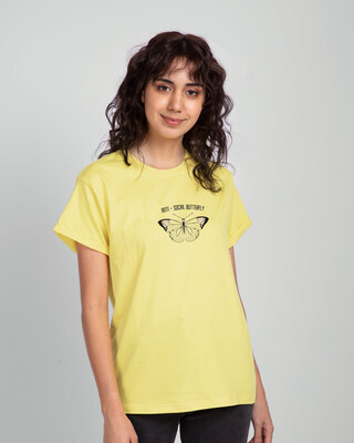 Shop Antisocial Butterfly Boyfriend T-Shirts Pastel Yellow -Front