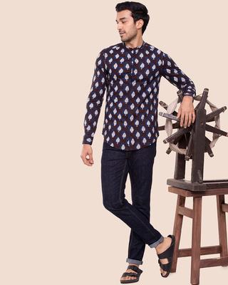 Shop Men's Mandarin Collar Full Sleeves Shirt-Front