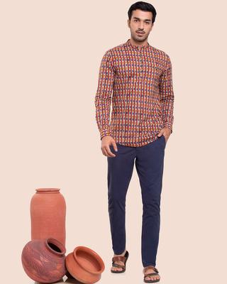 Shop Men's Printed Mandarin Collar Full Sleeves Shirt-Front