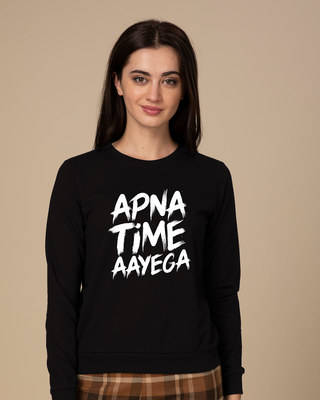 Shop Apna Time Ayega Fleece Sweater-Front