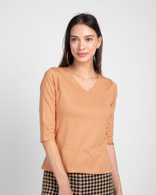 Shop Apricot Orange 3/4 V Neck T-Shirt-Front