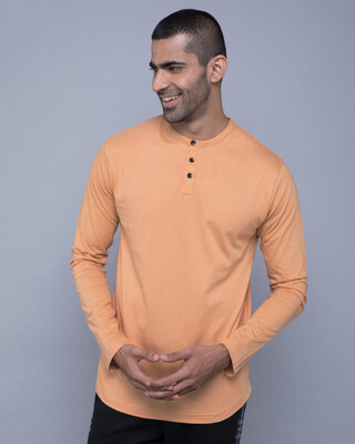 Shop Apricot Orange Full Sleeve Henley T-Shirt-Front