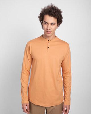 Shop Apricot Orange Full Sleeve Henley T-Shirt-Front