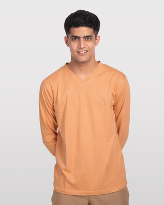 Shop Apricot Orange V-Neck Full Sleeve T-Shirt-Front