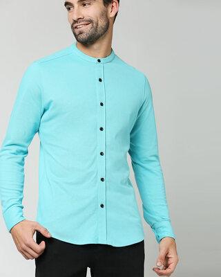 Shop Beach Blue Comfort Stretch Pique Shirt-Front