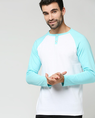 Shop Beach Blue Full Sleeve Henley Raglan T-Shirt-Front