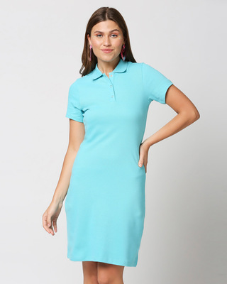 Shop Beach Blue Pique Dress-Front
