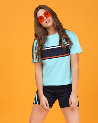Shop Beach Blue Color Block Women's Short Top-Front