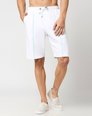 Shop Beach Blue Color Block Shorts-Front