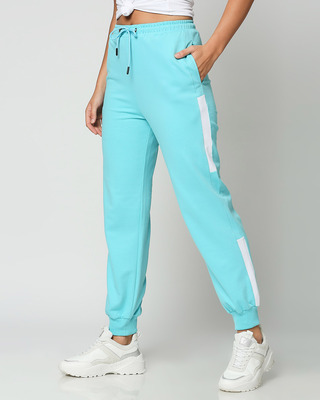 Shop Beach Blue Colorblock Joggers-Front