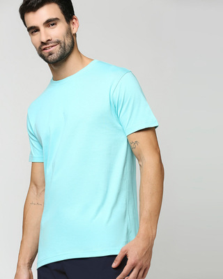 Shop Beach Blue Half Sleeve T-Shirt-Front