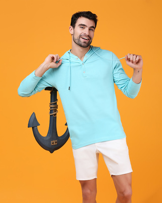 Shop Beach Blue Henley Hoodie T-Shirt-Front