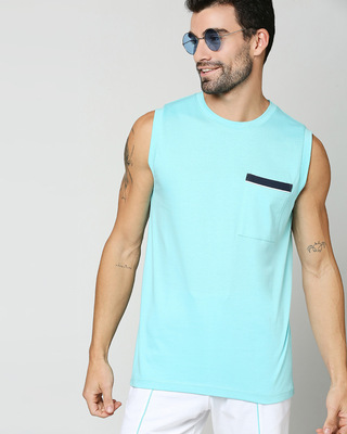 Shop Beach Blue Pocket Vest-Front