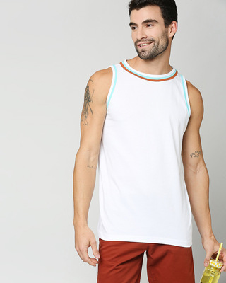 Shop Beach Blue Round Neck Vest-Front