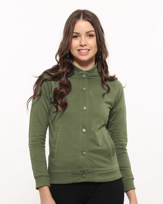 Shop Army Green Buttoned Bomber Jacket-Front