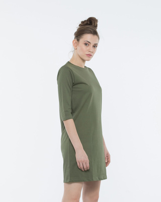 Shop Army Green 3/4th Sleeve T-Shirt Dress-Front