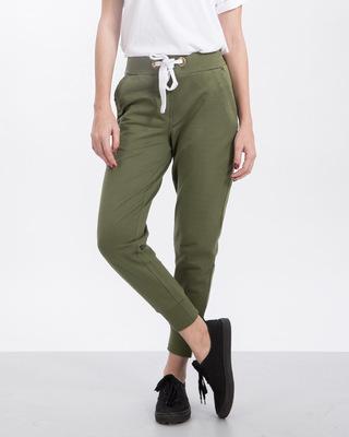 Shop Army Green Fleece Joggers-Front