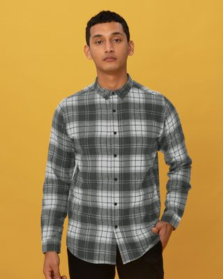 Shop Ash Grey Checked Shirt-Front