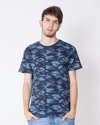 Shop Atlantic Blue Camouflage Half Sleeve All Over Printed T-Shirt-Front