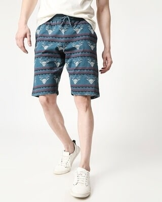 Shop Men Reindeer All Over Printed Atlantic Deep Shorts-Front