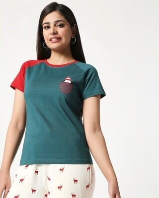 Shop Women Color Block Raglan Half Sleeve T-shirt-Front