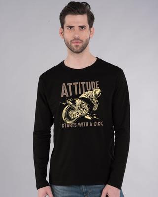 Shop Attitude Starts Full Sleeve T-Shirt-Front