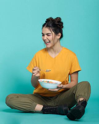 Shop Popcorn Yellow V-Neck T-Shirt-Front