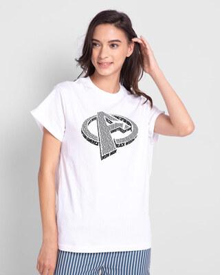Shop Avengers 3d Boyfriend T-Shirt (AVL) White-Front