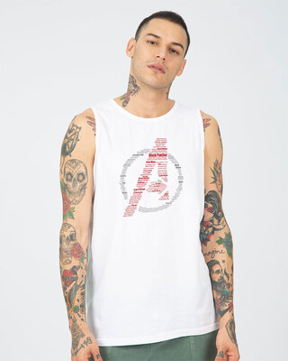 Shop Avengers All Stars Round Neck Vest White (AVL)-Front