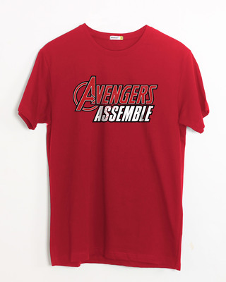 Shop Avengers Are Assembled Half Sleeve T-Shirt (AVEGL)-Front