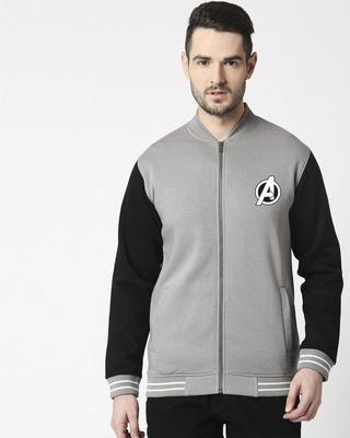 Shop Avengers Badge Varsity Bomber Jacket-Front