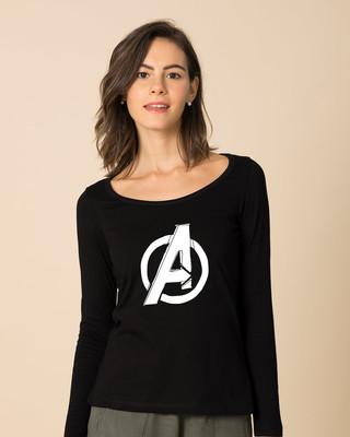 Shop Avengers Doodle Logo Scoop Neck Full Sleeve T-Shirt (AVL)-Front