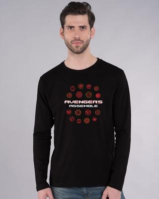 Shop Avengers Endgame Logos Full Sleeve T-Shirt (AVL)-Front