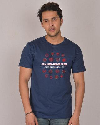 Shop Avengers Endgame Logos Half Sleeve T-Shirt (AVL)-Front