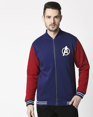 Shop Avengers Hero Badge Varsity Bomber Jacket (AVL)-Front