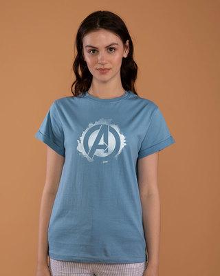Shop Avengers Inked Boyfriend T-Shirt (AVL)-Front