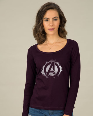 Shop Avengers Inked Scoop Neck Full Sleeve T-Shirt (AVL)-Front