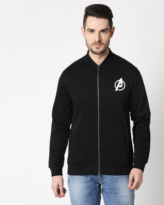 Shop Avengers Logo Badge Bomber Jacket-Front