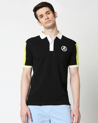 Shop Avengers Logos Sleeve Panel Polo-Front