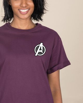 Shop Avengers Printed Badge Boyfriend T-Shirt (AVL)-Front