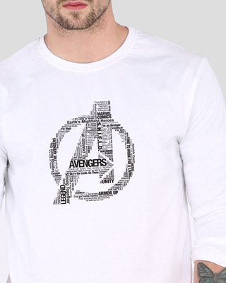 Shop Avengers Typo Men's Printed Full Sleeve T-Shirt-Front