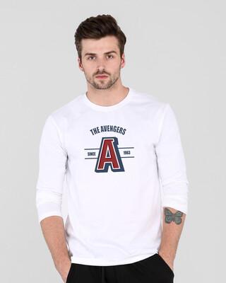Shop Avengers Varsity Full Sleeve T-Shirt White (AVL)-Front