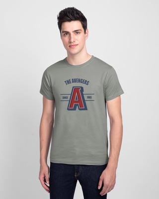 Shop Avengers Varsity Half Sleeve T-Shirt Meteor Grey (AVL)-Front