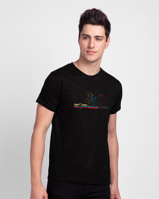 Shop AVG Hereos Outline Half Sleeve T-shirt (AVL) Black-Front