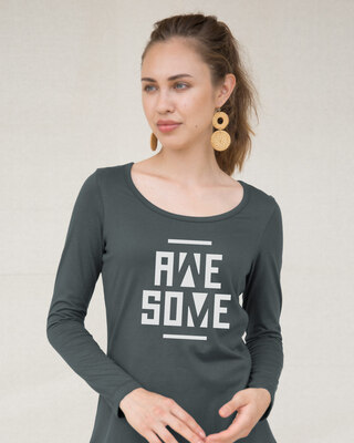 Shop Awesome Negative Scoop Neck Full Sleeve T-Shirt-Front