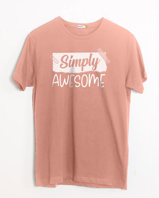 Shop Awesome Simply Half Sleeve T-Shirt-Front
